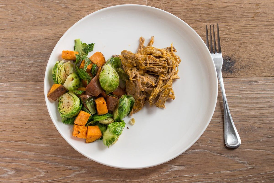 Creole Pork served with Sweet Potatoes and Broccoli