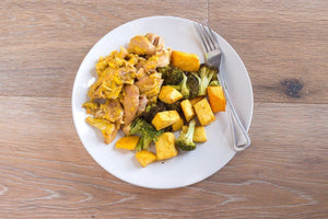 Jerk Chicken in Mango Sauce with Organic Butternut Squash and Broccoli Individual Meals True Fare