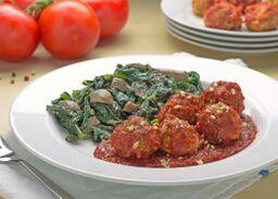Beef Meatballs in AIP Marinara with Organic Cauliflower Rice and Broccoli - AIP Friendly!