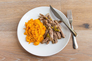 Smoked Pulled Pork served with Organic Sweet Potato Mash - AIP -  True Fare