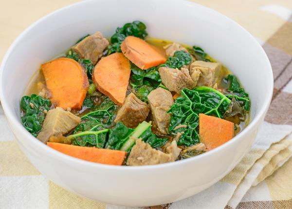 Pork Stew with Sweet Potatoes and Kale