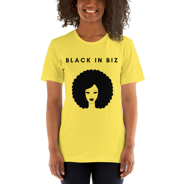 Black in Biz Hoops and Eyeliner Short-Sleeve Unisex T-Shirt