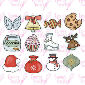 12 pc Christmas Mini Cookie Cutters for ADVENT CALENDAR