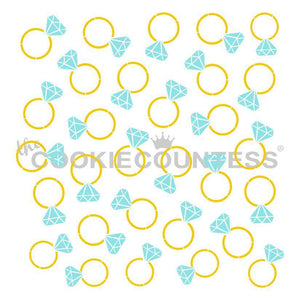 2 piece Diamond Rings Stencil