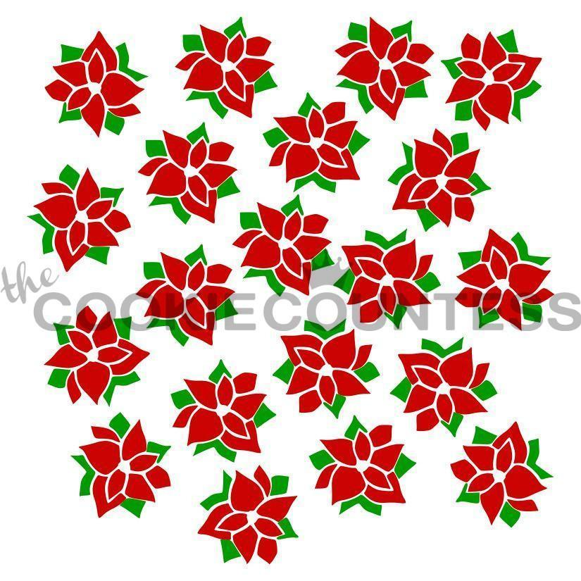 2 piece Poinsettia Stencil