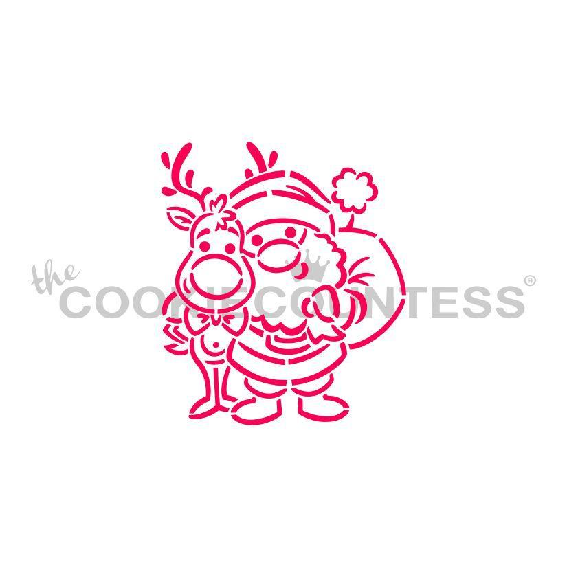 Santa and Rudolph Stencil - Drawn by Krista
