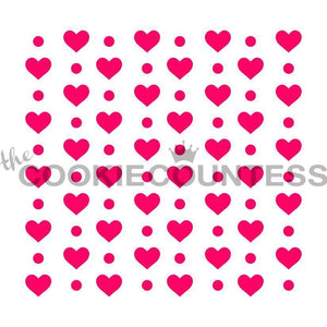 Hearts and Dots Stencil