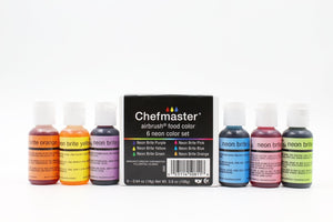 Chefmaster Airbrush Neon 6 Colors Kit 20 ml
