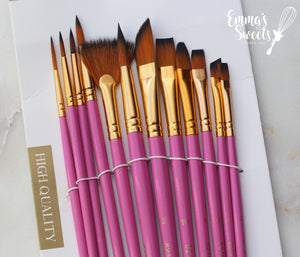 12 Pcs Artist Paint Brushes -PINK