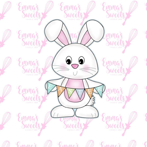 Bunny With Easter Banner