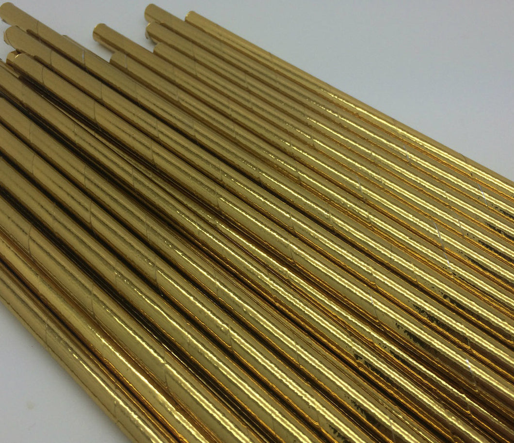 25pc Paper Straws Gold Metallic