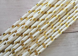 Gold and White Dot Straws