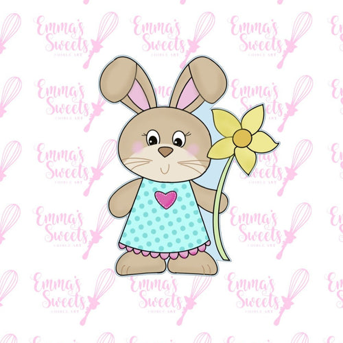 Happy Bunny With Flower