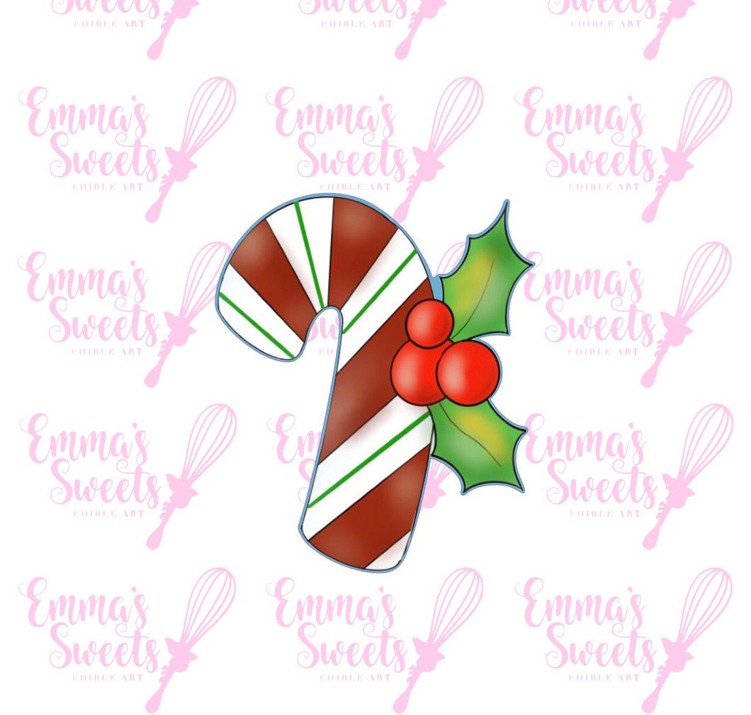 Chubby Candy Cane With Holly