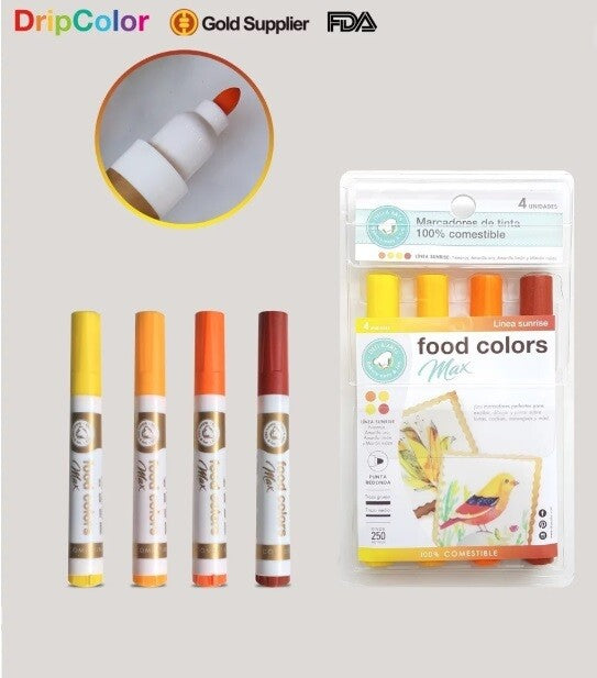 Dripcolor 4 pc EDIBLE Marker Set -Max Sunrise