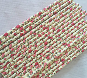 25pc Paper Straws Yellow Rose