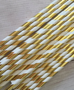 25pc Paper Straws White and Gold