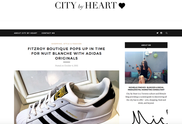 Fitzroy x adidas Pop Up on City By Heart blog