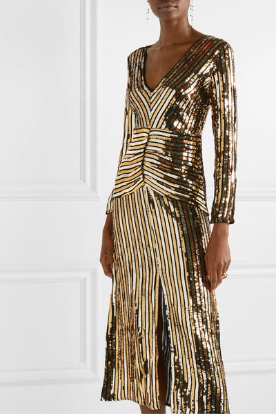 Emmy Gold Sequin Stripe Midi Dress by Rixo London - RENTAL