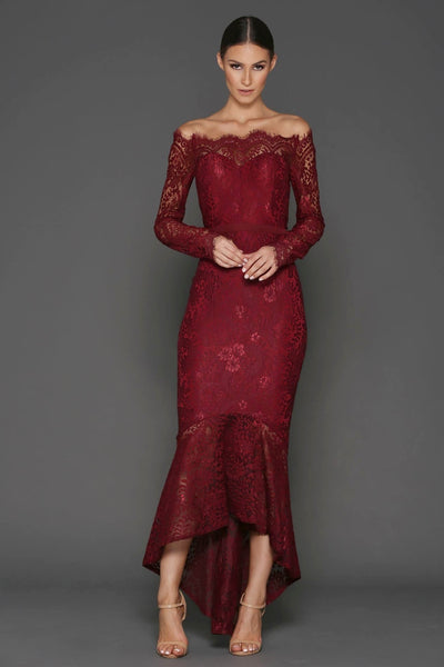 Burundy Lace Off The Shoulder Gown by Elle Zeitoune Toronto