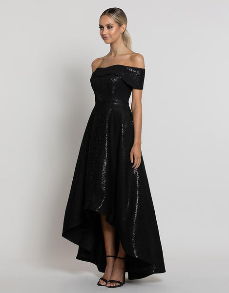 Tamara Sequin High-Low Gown by Bariano - RENTAL