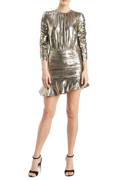 Monique L'Hullier Gold Metallic Mini Dress 2019
