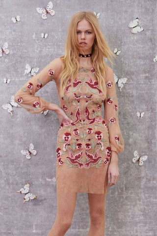 Dove Embroidered Mini Dress by For Love and Lemons - RENTAL