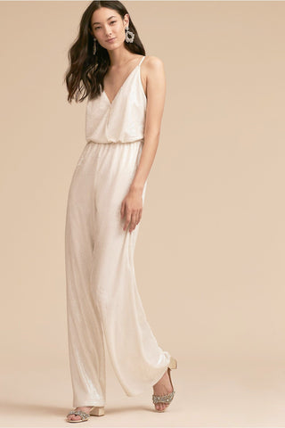 La Lune White Sequin Jumpsuit by BHLDN - RENTAL