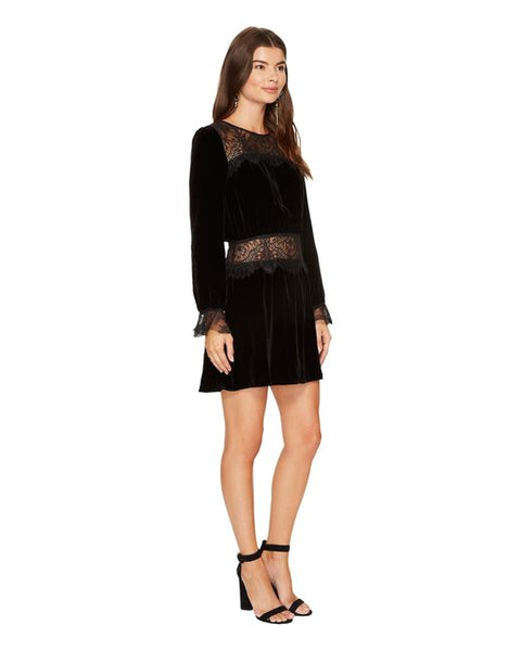 Beatrix Velvet Lace Dress in Black by For Love and Lemons - RENTAL