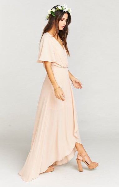 Sophia Wrap Dress by Show Me Your Mumu Dusty Blush Crisp