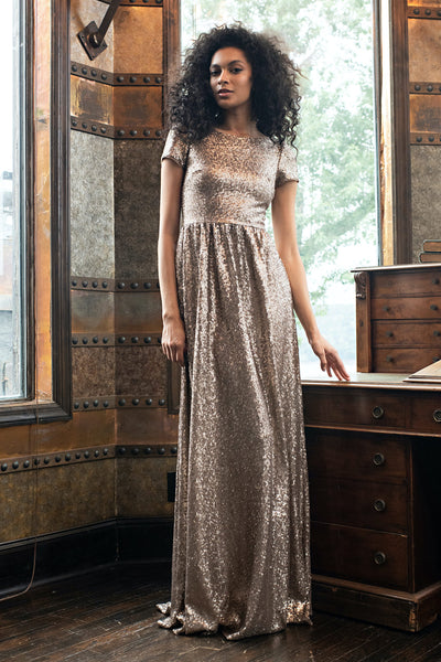 Simone Gold Sequin Gown by Theia Couture - RENTAL