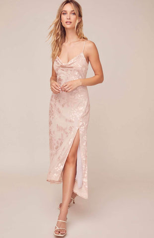 Gaia Dress in Pink Jacquard by ASTR - RENTAL