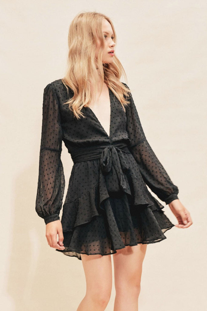72c60456a5f7 Tarta Long Sleeve Mini Dress in Black by For Love and Lemons ...