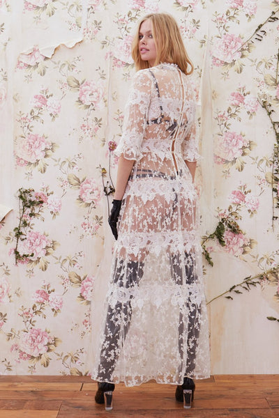 Rosebud Embroidered Maxi Dress by For Love and Lemons - RENTAL