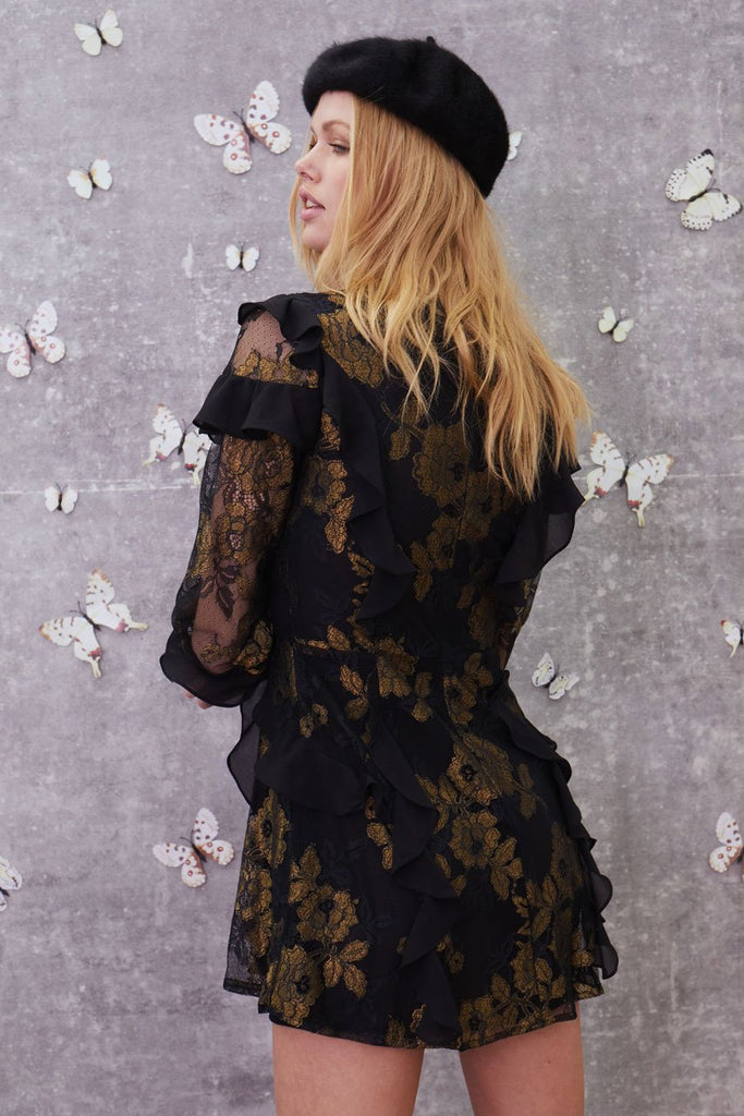 71f5573d570 ... Bumble Long Sleeve Ruffle Dress by For Love and Lemons - RENTAL ...