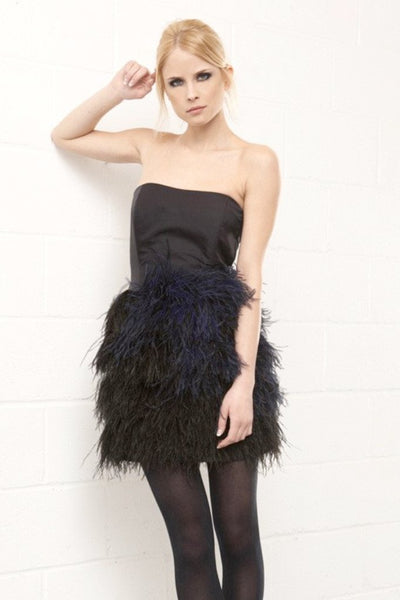 Carla Feather Dress in Black by Brose - RENTAL