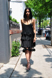 Melissa Pleated Feather Dress by Brose - RENTAL
