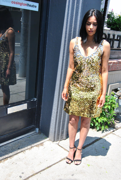 Lynne Two Tone Sequin Tank Dress by Brose