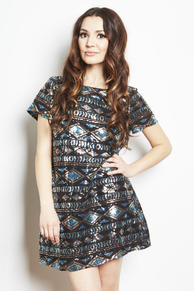 Tallulah Sequin Dress in Dark Diamonds by Show Me Your Mumu - RENTAL