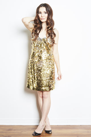 Lynne Two Tone Sequin Tank Dress by Brose - RENTAL