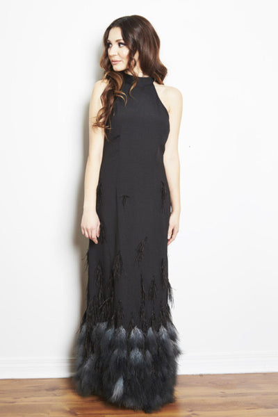 Naomi Halter Ostrich Feather Gown by Brose - RENTAL