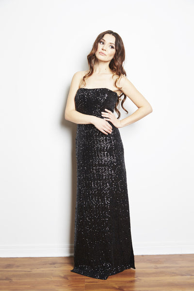 Jessie Strapless Sequin Gown by Brose, Marika Brose, Canadian designer dress rental, dress rentals canada, dress rentals toronto, dress rentals hamilton, dress rentals vaughan, dress rentals mississuaga, black tie dress rental, designer dress rental, designer dress rental canada, sequin gown dress rental, formal dress rental toronto, formal dress rental canada