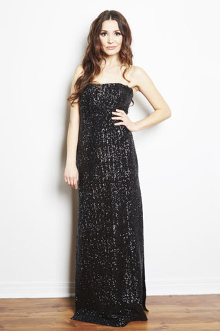 Jessie Strapless Sequin Gown by Brose, Marika Brose, Canadian designer dress rental, dress rentals canada, dress rentals toronto, dress rentals hamilton, dress rentals vaughan, dress rentals mississuaga, black tie dress rental, designer dress rental, designer dress rental canada, sequin gown dress rental, formal dress rental toronto, formal dress rental canada, maternity dress rental