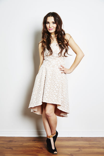 Paige Eyelet Lace High Low Dress by Brose - RENTAL