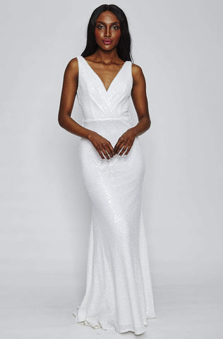 Sun White Sequin Cowl Back Gown by Theia Couture - RENTAL