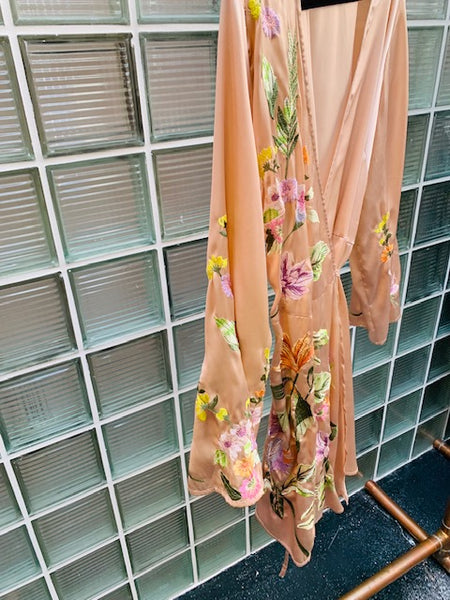 The April Embroidered Kimono Wrap Dress - FINAL SALE