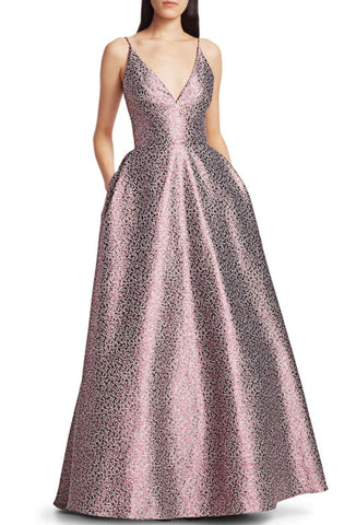 Monet Printed Jacquard Ballgown by ML Monique Lhuillier - RENTAL