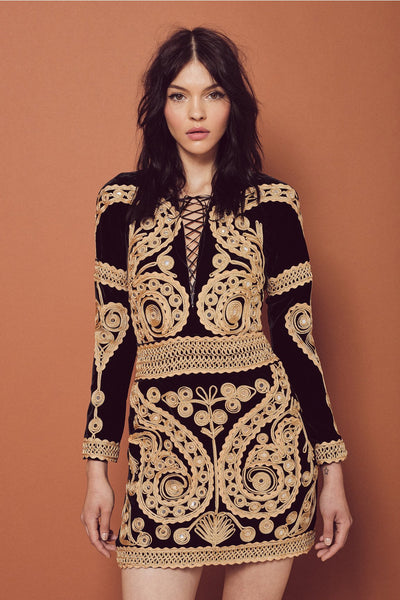 Ornate Velvet Mini Dress by For Love and Lemons - FINAL SALE