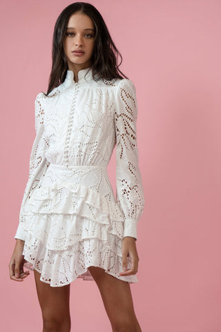 Rebecca Cotton Eyelet Mini Dress by Sau Lee - RENTAL