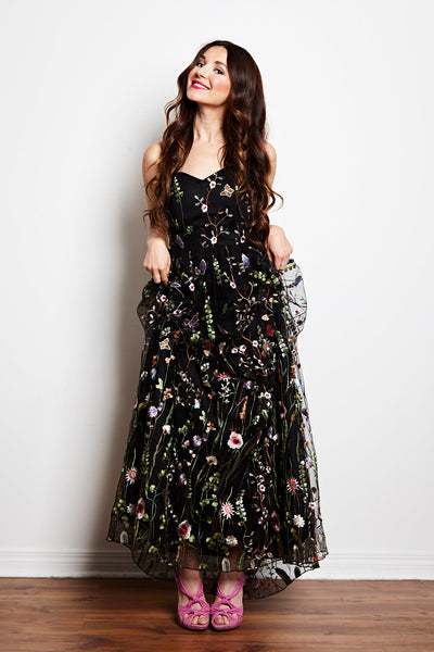 Amalthea Embroidered Gown in Black by Jordan de Ruiter - RENTAL